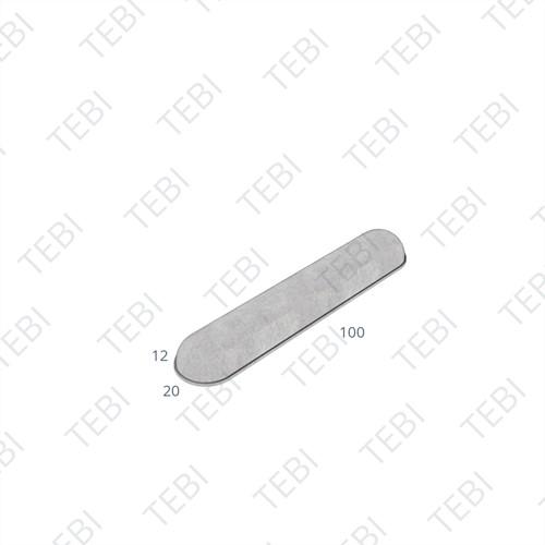 Stootband plak 12x20x95cm grijs 2x ronde kop