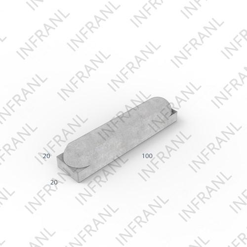 Stootband 20x20x100cm grijs 2x ronde kop
