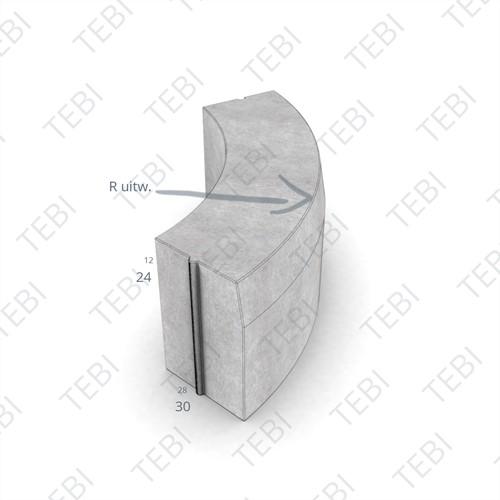 Bochtstuk 28/30x24cm R=1 Uitw. grijs