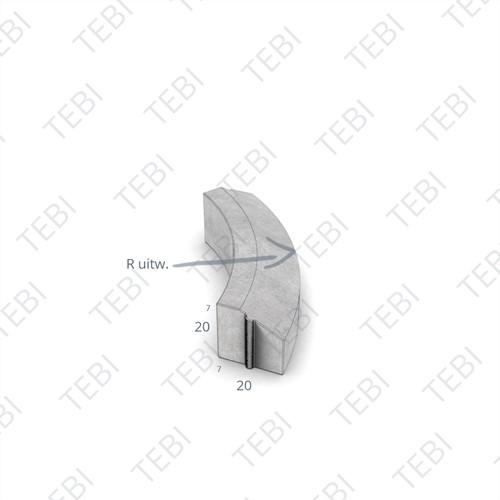Bochtstuk 7/20x20cm R=1 Uitw. grijs