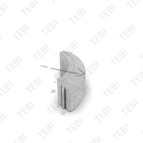 Rijwielpadbochtband 4/12x25cm R=4 Uitw. grijs