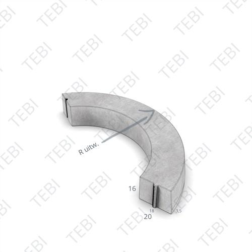 Bochtstuk 18/20x16cm R=0,5 Uitw grijs