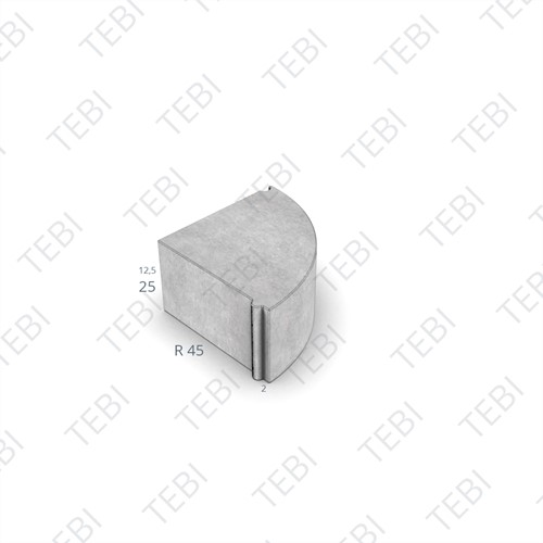 Hoekblok 13/15x25cm Uitw R=45 uitgew. zwart