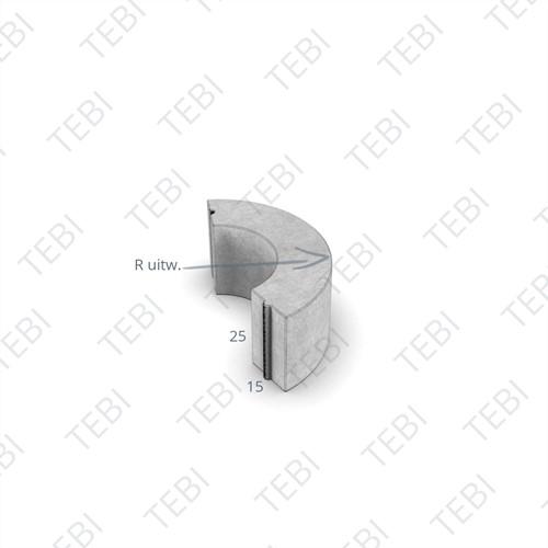 Bochtstuk 15x25cm R=5 grijs