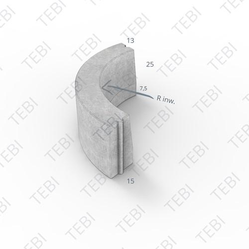 Bochtstuk 13/15x25cm R=1 Inw uitgew bont