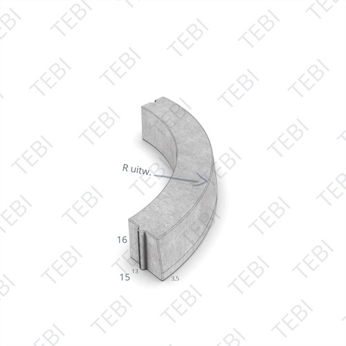 Bochtstuk 13/15x16cm R=0.45 Uitw grijs