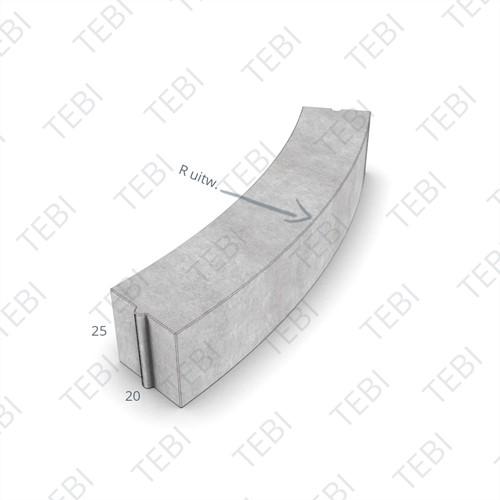 Bochtstuk 20x25cm R=8 Grijs