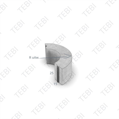 Bochtstuk 15x25cm R=8 grijs