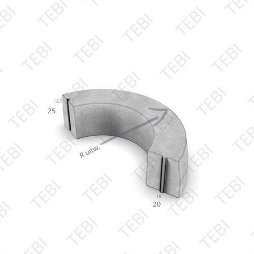 Bochtstuk 18/20x25cm R=0,5 Uitw uitgew grigio