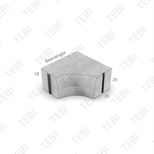 Hoekblok 18/20x25cm Inw R=30 uitgew grigio