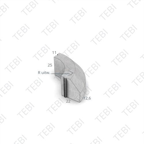 Bochtstuk 11/22x25cm Uitw. R=3 grijs