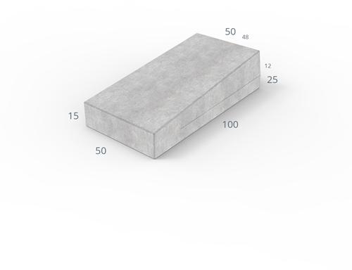 Inritverloopband 48/50x25/15x100cm uitgew grijs rechts