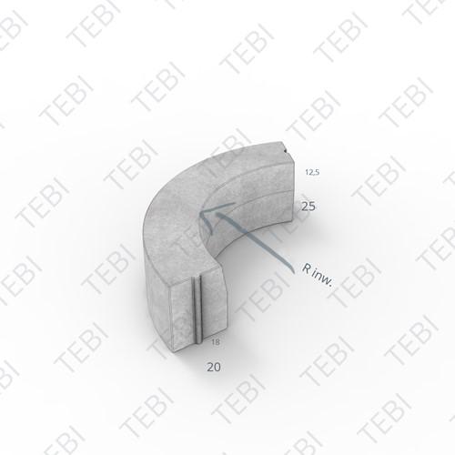 Bochtstuk 18/20x25cm R=1 Inw. grijs