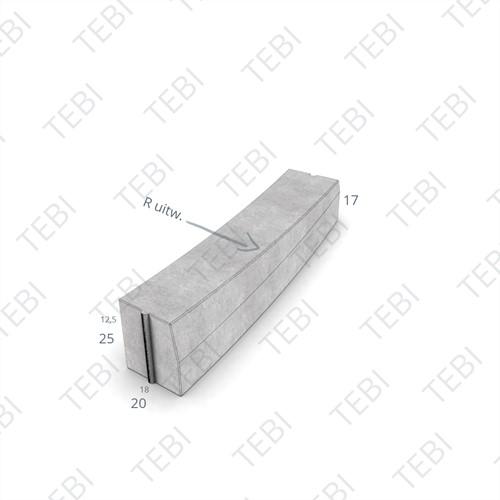 Inritverloopbochtstuk 18/20x25cm R=8 grijs links