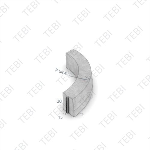 Bochtstuk 13/15x20cm R=2 Uitw grijs