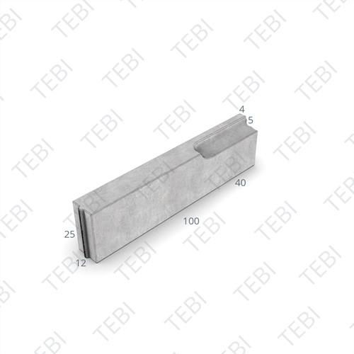 Verloopband 12x25-4/12x25x100cm grijs
