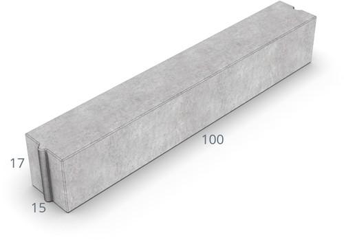 Inritverloopband 13/15x25/17x100cm uitgew GIG grijs tussen