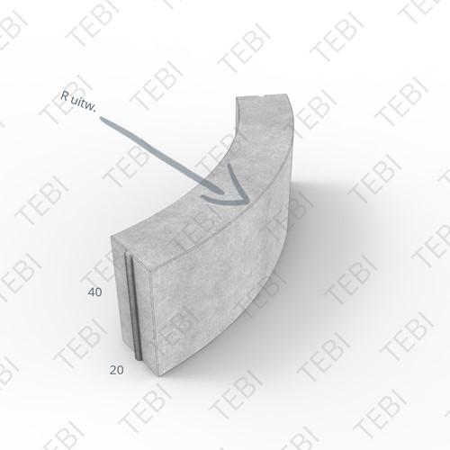 Bochtstuk 20x40cm R=0,5 Grijs
