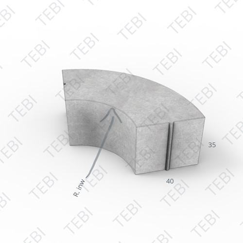 Bochtstuk 40x35cm R=24 Grijs inw.