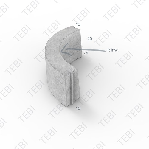 Bochtstuk 13/15x25cm R=8 Inw. uitgew GIG