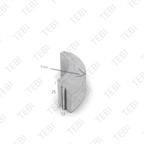 Rijwielpadbochtband 4/12x25cm R=0,56 uitw grijs