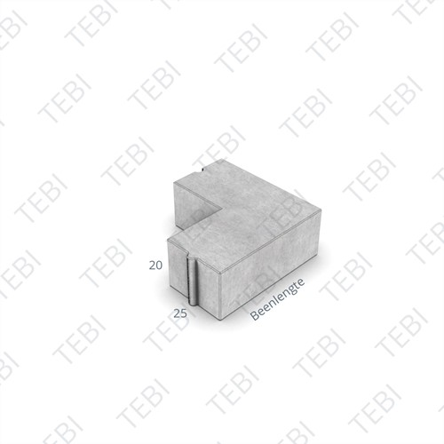 Rabatband Hoekstuk 25x20x45cm 90º grijs