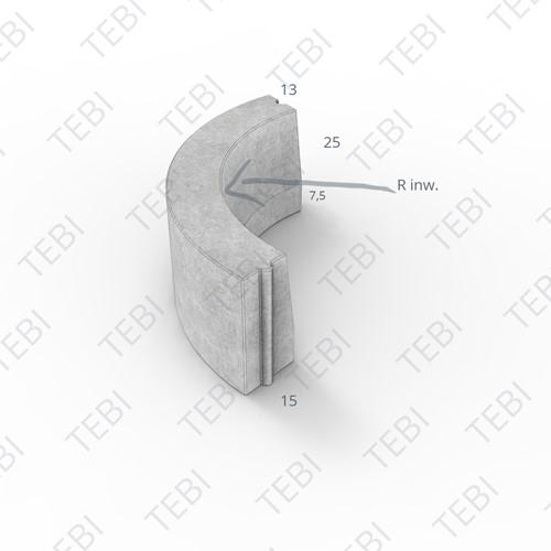 Bochtstuk 13/15x25cm R=2 Inw uitgew zwart