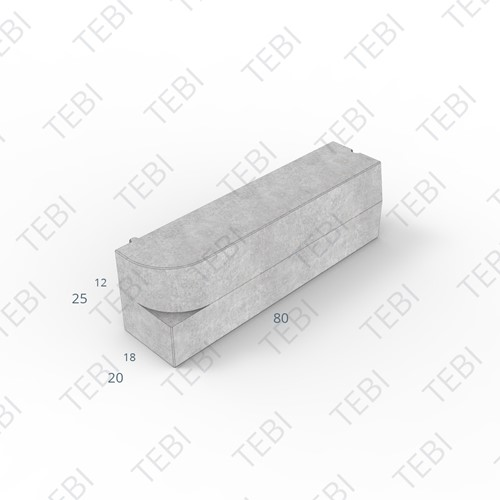 Inritperronband 18/20x25x80cm uitgew. grigio links