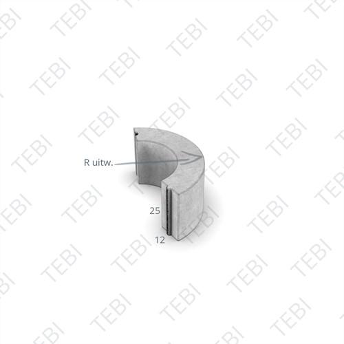 Bochtstuk 12x25cm R=   hardsteenkleur
