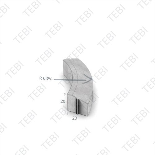 Bochtstuk 5/20x20cm R=8 Uitw. grijs