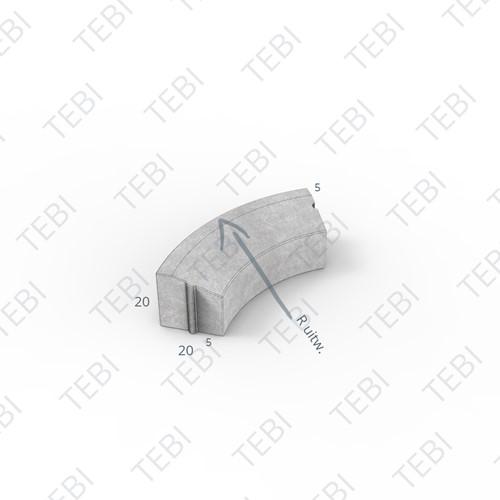 Bochtstuk 5/20x20cm R=10 Inw. grijs