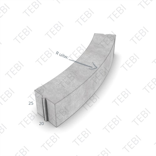 Bochtstuk 20x25cm R=1 Grijs