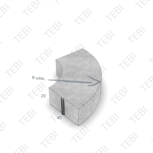 Bochtstuk 40x20cm R=3 grijs