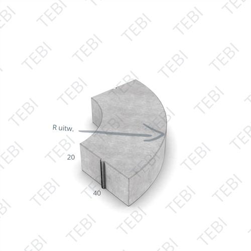 Bochtstuk 40x20cm R=6 grijs