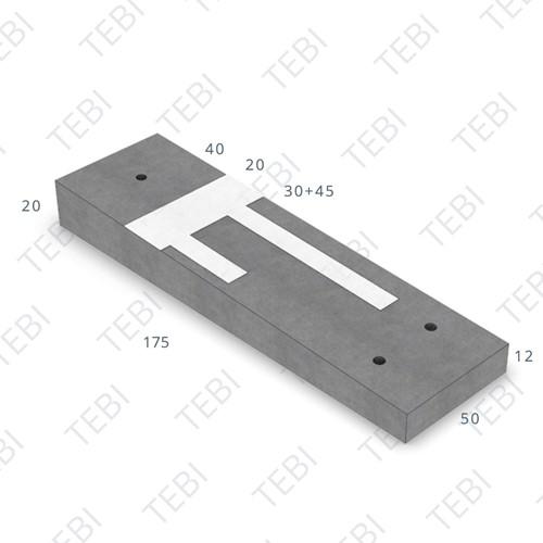 Verkeersdrempel 12/20x50x175cm CROW 30km/h grijs/wit (45/XF4)