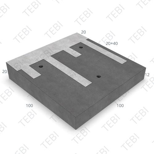 Verkeersplateaudrempel 12/20x100x100cm CROW 30km/h grijs/wit (45/XF4)