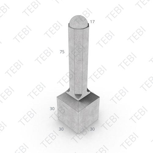 Sierpaal 8-hoekig 30x30/105cm grijs