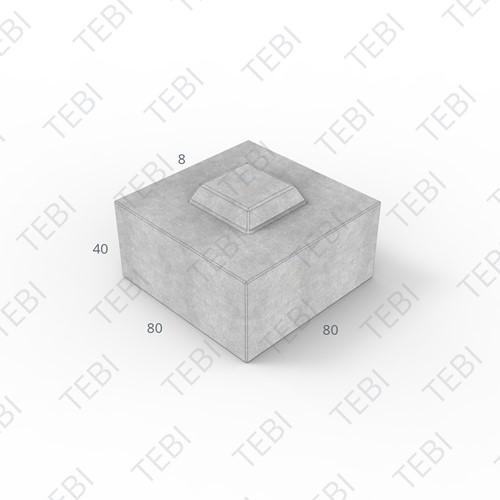 Megablok 80x80x40cm grijs 2 nok