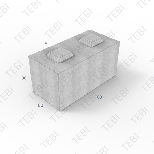 Megablok 160x80x80cm grijs 2 nok