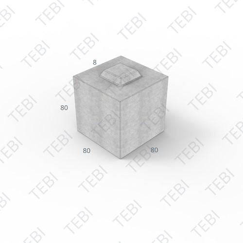 Megablok 80x80x80cm grijs 2 nok