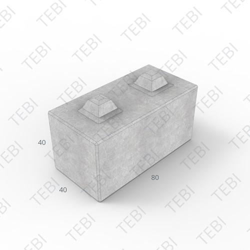 Megablok 80x40x40cm grijs 8 nok
