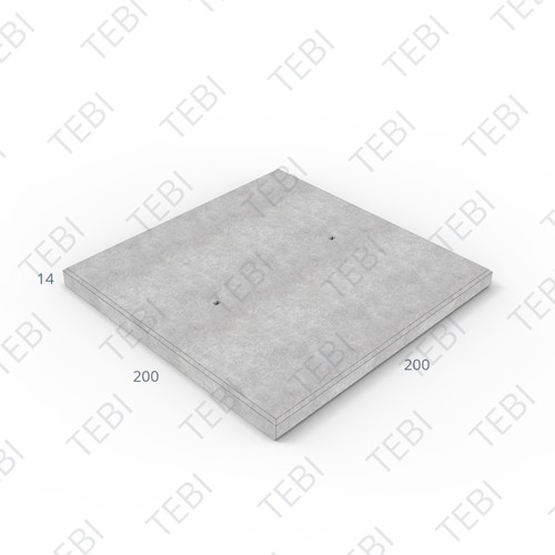 Transconplaat C50/60 ZHR DN 200x200x14cm Glad