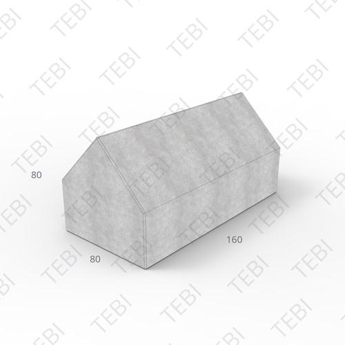 Megablok 80x80x80cm met dak grijs