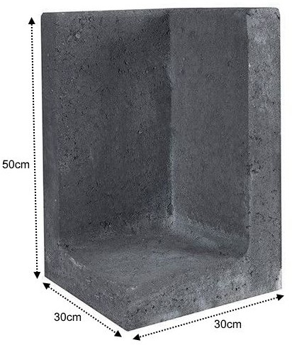 L-Element Hoek 30x30x50cm zwart