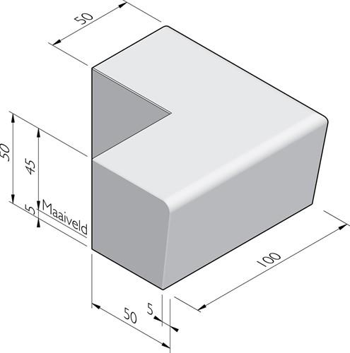 Zitelement Solid 50/45x50x100/100cm hoekstuk 90º uitw. grijs